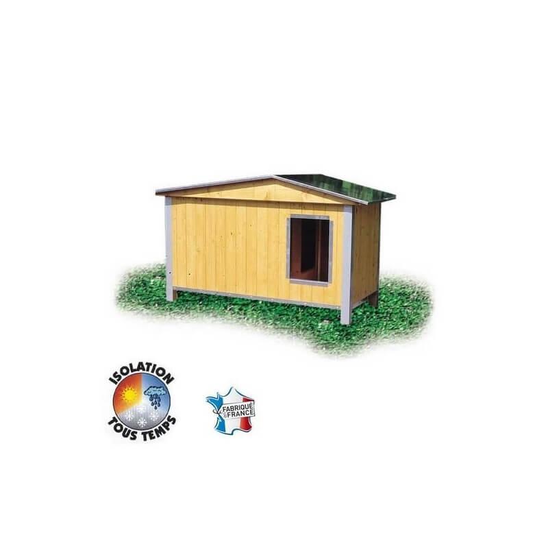 Niche bois CONFORT toit double pan pour chien